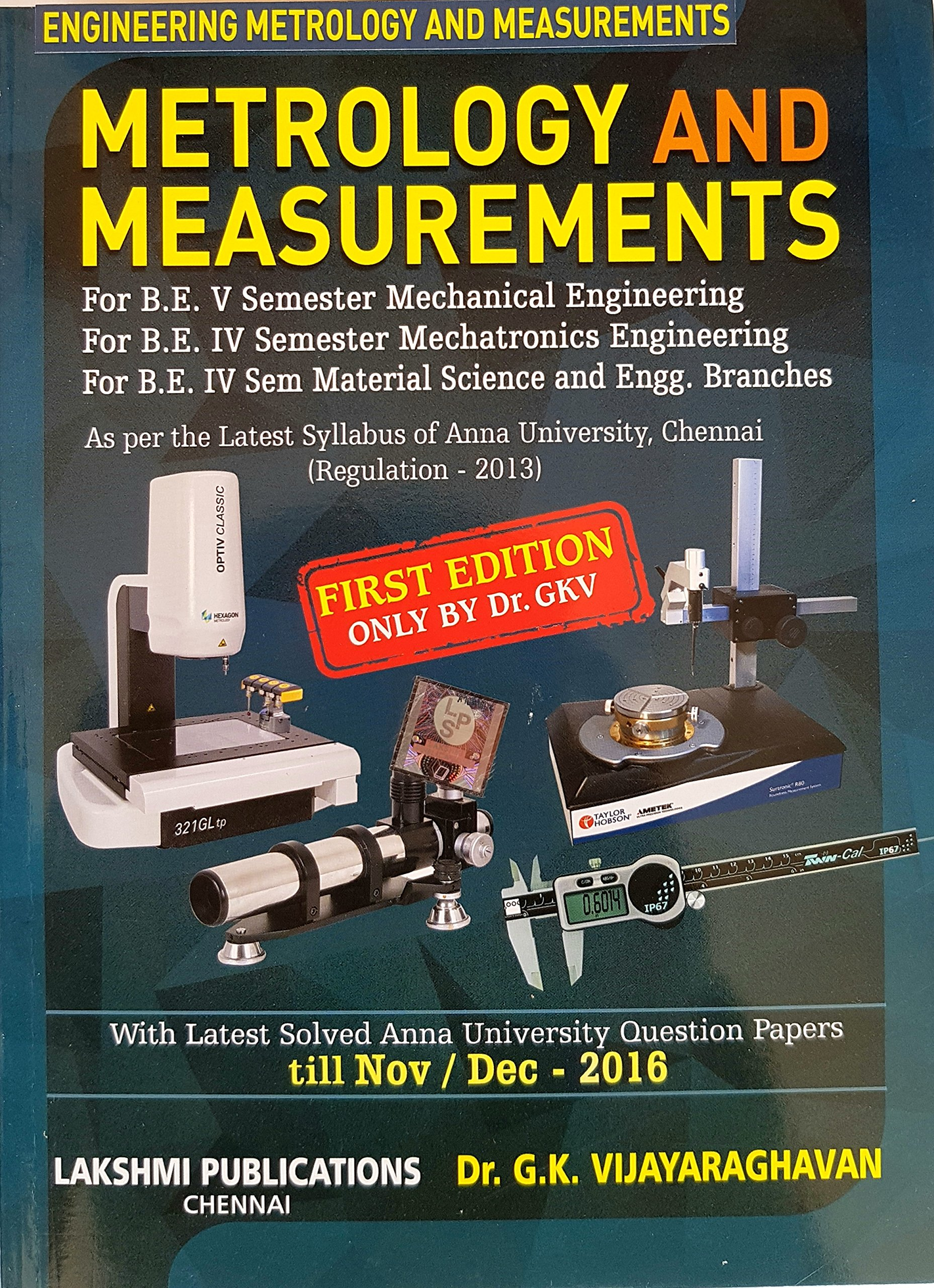 engineering metrology and measurements book by vijayaraghavan